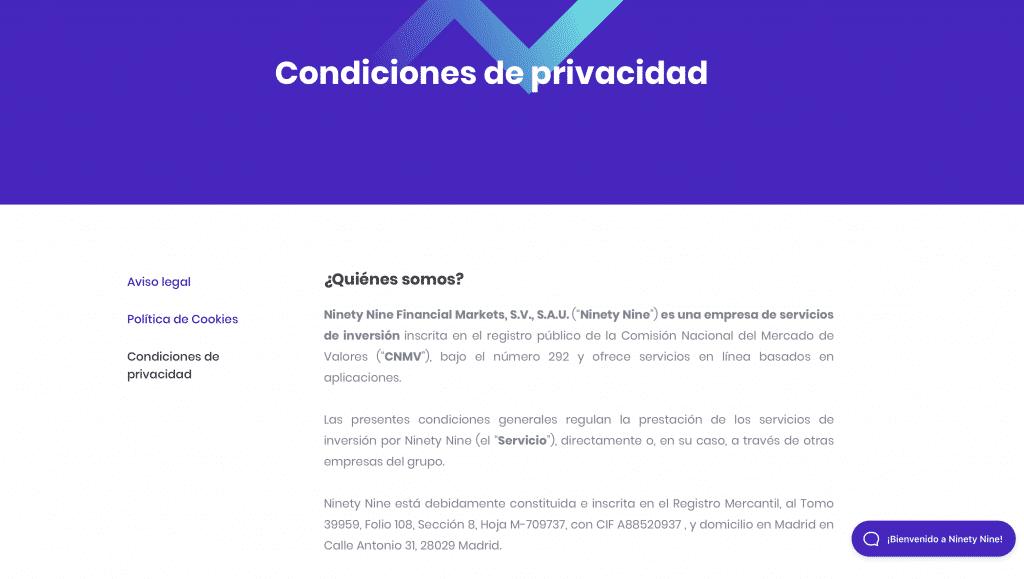 condiciones de privacidad Ninety Nine web